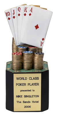 Poker Trophy; 8 Inch; Painted Resin - Tr5737 - Awards Cast Stone Star And Special Recognition Trophies TR5737
