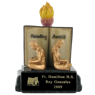 Reading Award Scholastic Trophy; 5-1/2 Inch - Ts1003bk - Awards Large Electroplated Resin Sport And Occupational Trophies TS1003BK