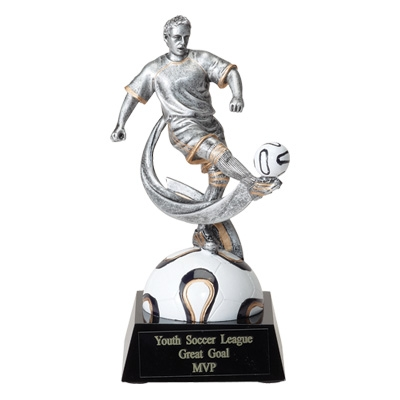 Soccer; Male; 6 3/4 Inch Figure Trophy - Tr7029bk - Sports Resin Trophies And Cast Stone Sport TR7029BK