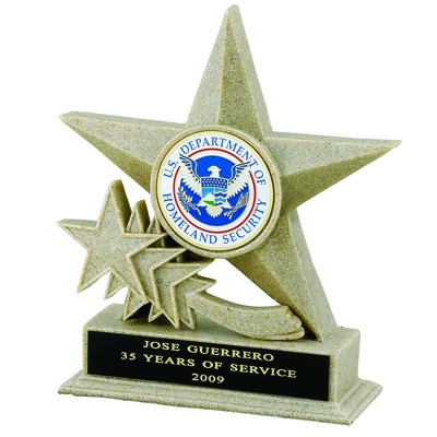 Star Beige Resin ;6 3/4 Inch ; 2 Mylar; Without Plate - X8785 - Trophies And Awards Component Parts X8785