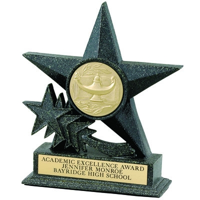 Star Black Resin ; 6 3/4 Inch 2 Mylar; Without Plate - X8784 - Trophies And Awards Component Parts X8784