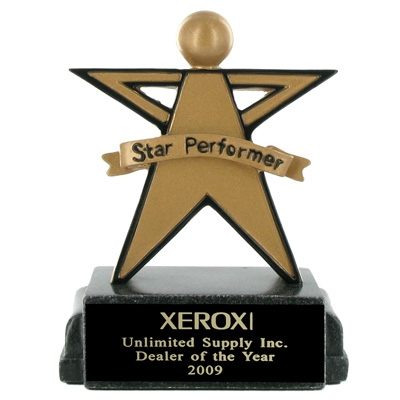 Star Performer Scholastic Trophy; 5-1/4 Inch - Ts1016bk - Awards Large Electroplated Resin Sport And Occupational Trophies TS1016BK