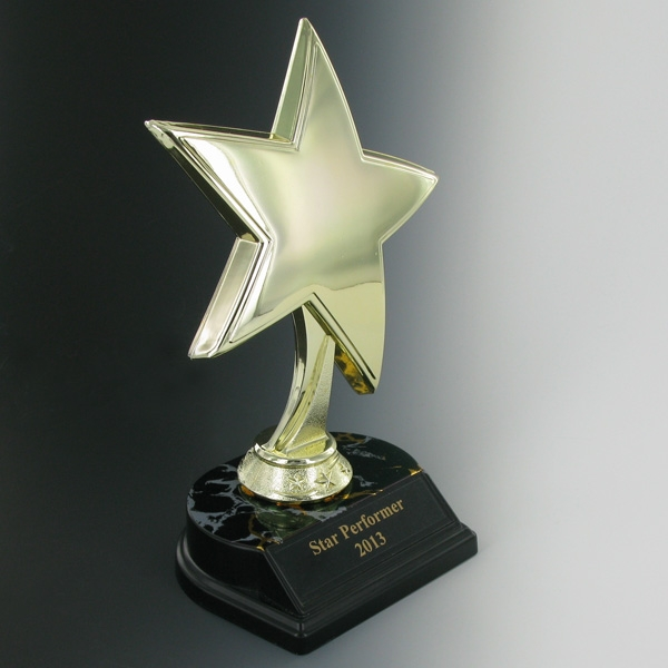 Star Trophy; 8 Inch Height; Black And Gold Base; Plate - Tr7338bk - Awards Trophies TR7338BK