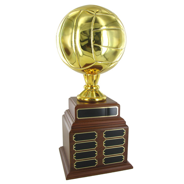 Volleyball Perpetual Trophy; Height 19 Inches; 8 Inch Gold Ball - Tr7374 - Awards Loving Cups Sport Balls TR7374