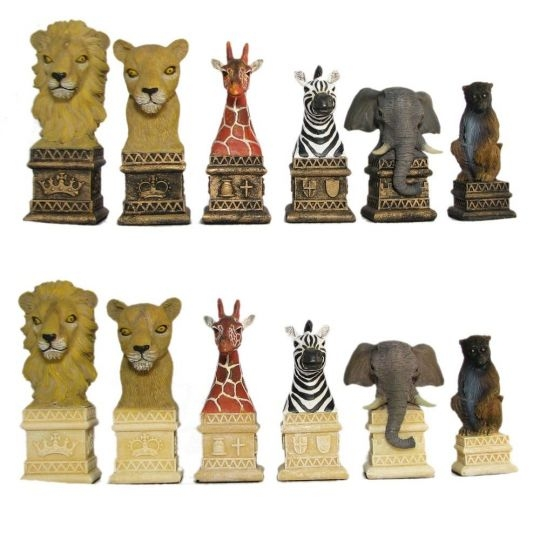 Learning: Play Chess Wood Plastic Board - 2t-305 - African Animals Hand Painted Polystone Chess Pieces 2T-305