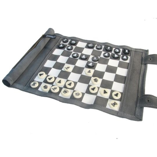 Leatherette Roll-up Travel Chess Set - 40-053 - Learning: Play Chess Wood Plastic Board 40-053