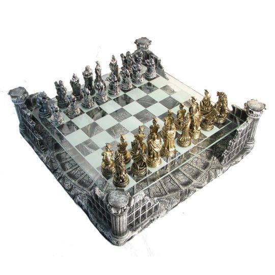 Pewter & Glass Coliseum Chess Set - 48-016 - Learning: Play Chess Wood Plastic Board 48-016