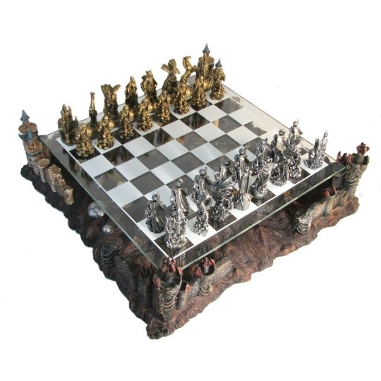 Pewter & Glass Fantasy Chess Set - 48-017 - Learning: Play Chess Wood Plastic Board 48-017