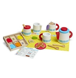 Learning: Play Care & Routine Machines & Appliances Kitchen Appliances - 9843 - Wooden Steep & Serve Tea Set 9843