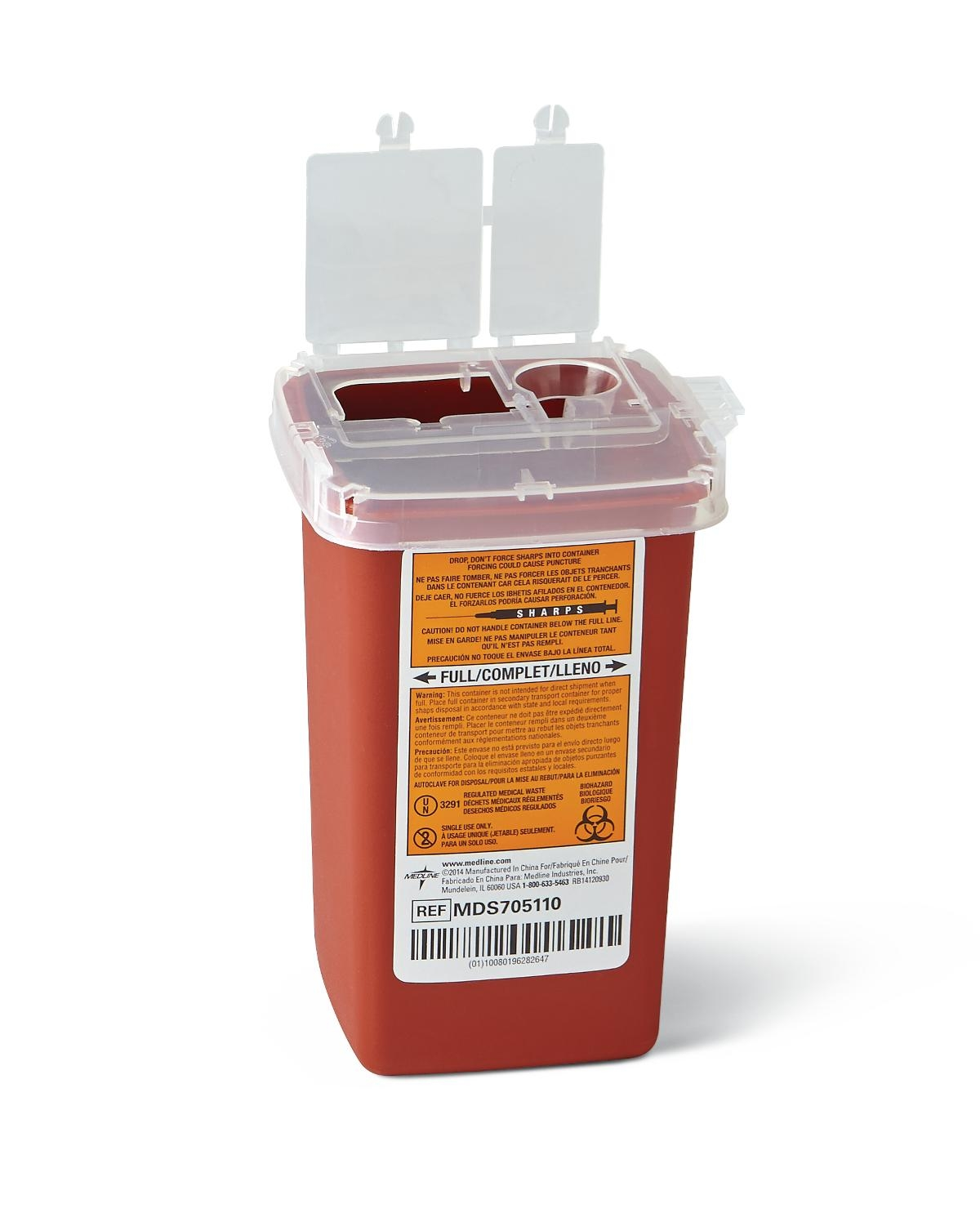 Nursing Supplies & Patient Care Sharps Containers - Mds705110h - Container Sharps 1 Qt. Red Phleb. MDS705110H