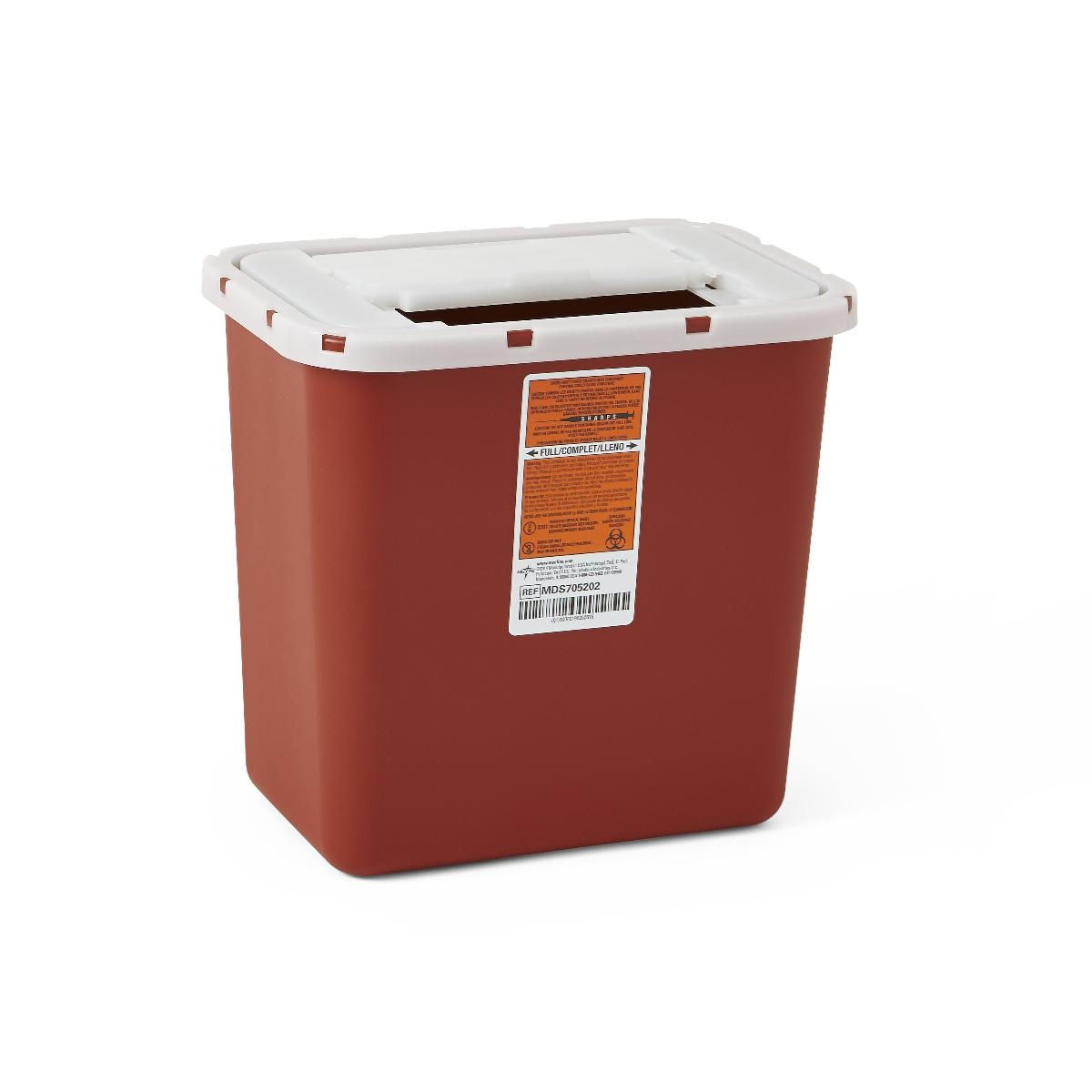 Nursing Supplies & Patient Care Sharps Containers - Mds705202h - Container Sharps 2 Gal. Red Wall/free MDS705202H