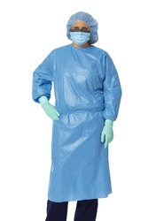 Apparel & Accessories Staff Isolation Gowns - Non27114 - Gown Iso Poly Ctd Clsdbck Elstcf Blue Rg NON27114