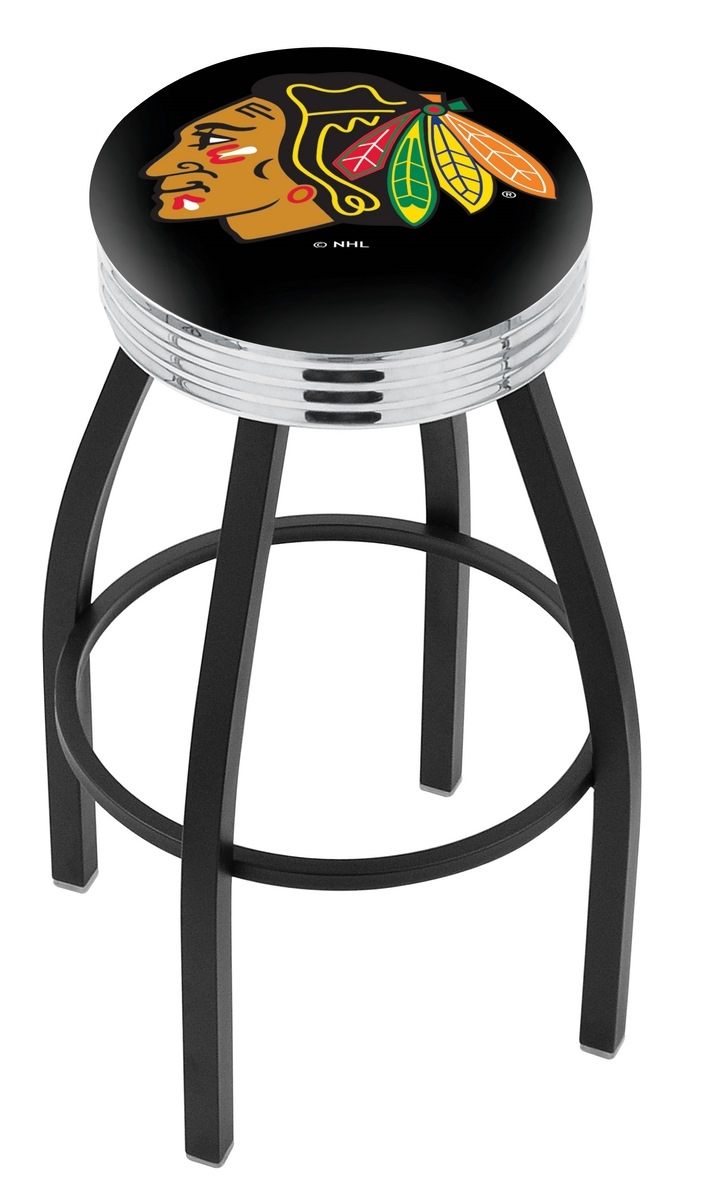 Chicago Blackhawks Bar Stool W/black Background-l8b3c - L8b3c25chihwk-b - Chairs Table Nhl L8B3C25CHIHWK-B