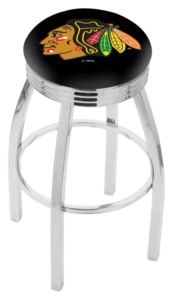 Chicago Blackhawks Bar Stool W/black Background-l8c3c - L8c3c25chihwk-b - Chairs Table Nhl L8C3C25CHIHWK-B