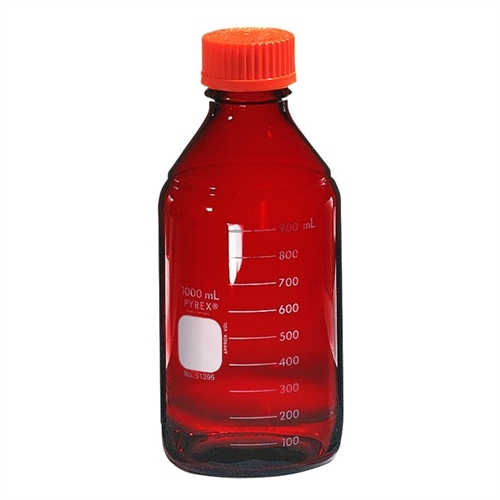 Chemglass Graduated Pyrex Media Bottle; 1;000ml; Low Actinic; Gl45; Case/4 - Cg-8090-1l - Bottles Containers Amber Glass CG-8090-1L