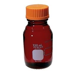 Chemglass Graduated Pyrex Media Bottle; 25ml; Low Actinic; Gl25; Case/4 - Cg-8090-25 - Bottles Containers Amber Glass CG-8090-25