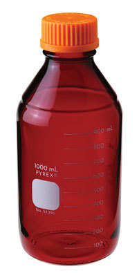 Chemglass Pyrex Media Bottle; 10;000ml; Low Actinic; Gl45 Cap - Cg-8090-10l - Bottles Containers Amber Glass CG-8090-10L