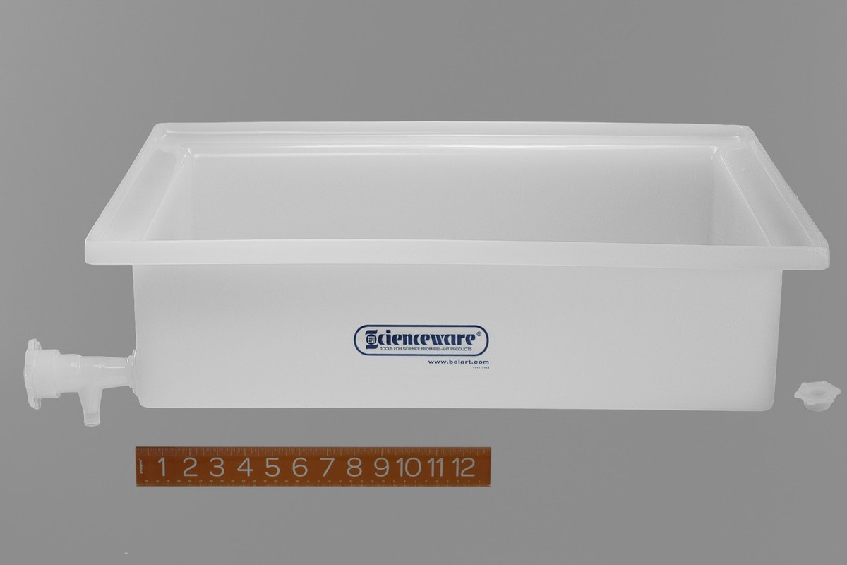"Lab Tray With Faucet; Rugged Ldpe; 17.5"" X 23.5"" 6"" - Ba-162950000 - Supplies Storage Totes Plastic Trays BA-162950000"