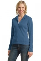 Port Authority Ladies Flatback Rib Full-zip Jacket - L221-harborblue - Shirts And Tops L221-HARBORBLUE