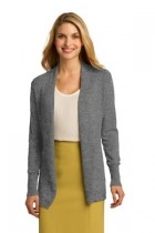 Port Authority Ladies Open Front Cardigan Sweater - Lsw289-mediumheather - Shirts And Tops LSW289-MEDIUMHEATHER